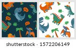 seamless pattern with dinosaurs.... | Shutterstock .eps vector #1572206149