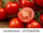 Close Up Tomato On Board.
