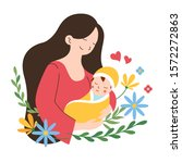mother holding her cute baby... | Shutterstock .eps vector #1572272863