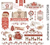 set of christmas decorative... | Shutterstock .eps vector #157230938