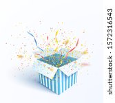 open gift box with confetti... | Shutterstock .eps vector #1572316543