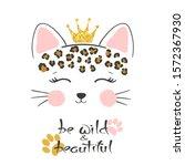 little cute leopard head vector ... | Shutterstock .eps vector #1572367930