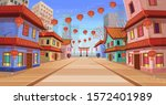 panorama chinese street with... | Shutterstock .eps vector #1572401989