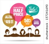 group of people with sale... | Shutterstock .eps vector #157241690