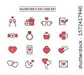 valentine s day line icon set