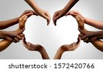 Small photo of Diverse people working together and group unity or diversity partnership as teamwork cooperation or togetherness collaboration concept with hands joined together as connected citizens.