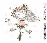 Cute Girl In A Wreath Of...