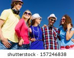 group of young and happy people ... | Shutterstock . vector #157246838