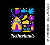 netherlands logo with flat... | Shutterstock .eps vector #1572504316