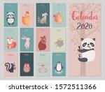 calendar 2020 with animals ....   Shutterstock .eps vector #1572511366