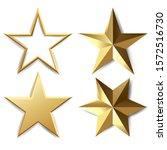 golden stars set isolated white ... | Shutterstock . vector #1572516730