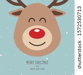 reindeer red nosed cute close...   Shutterstock .eps vector #1572530713