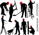 construction workers... | Shutterstock .eps vector #157253504