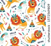 cute tribal lions seamless... | Shutterstock .eps vector #1572569809