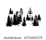 Forest Trees Silhouette Vector...