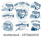 vintage trout fishing emblems ... | Shutterstock .eps vector #1572662413