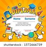 kids diploma certificate on... | Shutterstock .eps vector #1572666739