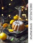 lemon cake with the lemons andd ... | Shutterstock . vector #1572672283