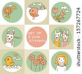 set of 8 cute stickers with... | Shutterstock .eps vector #157267724