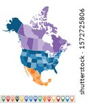political map of north america  | Shutterstock .eps vector #1572725806