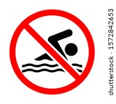 no swimming warning sign in... | Shutterstock .eps vector #1572842653