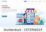 online shopping landing page... | Shutterstock .eps vector #1572906019