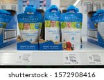 Small photo of Melbourne, VIC/Australia-Oct 16th 2019: Some Bellamy's organic baby food pouches on supermarket shelf.