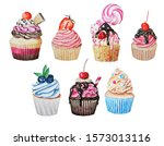 set of cake watercolor... | Shutterstock . vector #1573013116
