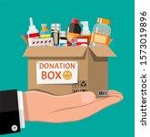 cardboard box full of drugs in... | Shutterstock . vector #1573019896