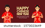 chinese people greeting... | Shutterstock .eps vector #1573023649