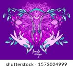 poster with blooming of uterus  ... | Shutterstock .eps vector #1573024999