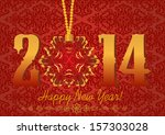 2014 happy new year greeting... | Shutterstock . vector #157303028