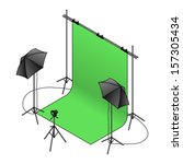 A photo studio set up with a green screen backdrop, umbrella flash lights on tripods, and a camera.