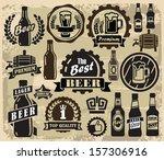 vector color beer pub labels... | Shutterstock .eps vector #157306916