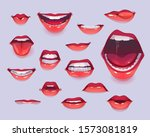 woman mouth set. red sexy lips... | Shutterstock .eps vector #1573081819