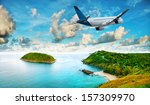 jet is over the tropical resort ... | Shutterstock . vector #157309970