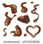 chocolate realistic drops and... | Shutterstock .eps vector #1573193050