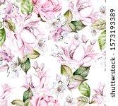 beautiful watercolor seamless... | Shutterstock . vector #1573193389