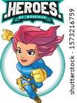 women superhero vector design... | Shutterstock .eps vector #1573216759