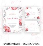 wedding floral invite ... | Shutterstock . vector #1573277923