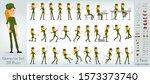 cartoon flat cute funny army... | Shutterstock .eps vector #1573373740