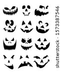 black and white set halloween... | Shutterstock .eps vector #1573387546