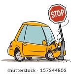 car crash in stop sign. cartoon ... | Shutterstock .eps vector #157344803