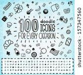 100 vector doodle icons... | Shutterstock .eps vector #157347560
