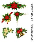 christmas decorations with fir... | Shutterstock .eps vector #1573523686
