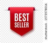best seller red ribbon isolated....   Shutterstock .eps vector #1573578016