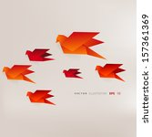 origami paper bird on abstract... | Shutterstock .eps vector #157361369