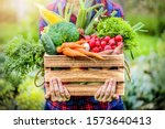 Farmer Woman Holding Wooden Box ...