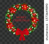 christmas wreath of holly with...   Shutterstock .eps vector #1573649890