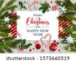 christmas card with fir tree...   Shutterstock .eps vector #1573660519